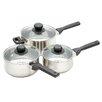 Kitchen Craft Jury 3-Piece Stainless Steel Saucepan Set with Lids