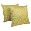 Blazing Needles Indian Diamond Mosaic Embroidered Cotton Throw Pillow (Set of 2)