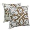 Blazing Needles Symmetrical Floral Cotton Throw Pillow (Set of 2)