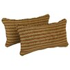Blazing Needles Corded Autumn Gingham Lumbar Pillow (Set of 2)