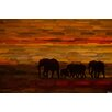 Parvez Taj Elephants at Dusk Graphic Art Wrapped on Canvas