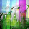 Parvez Taj Leinwandbild Marching Penguins, Grafikdruck