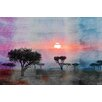 Parvez Taj Plains Sunset Graphic Art Wrapped on Canvas