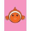 Star Editions Gerahmtes Poster Animaru Fish, Grafikdruck in Rosa/Orange