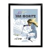 Star Editions Ski Fun in San Moritz by Dave Thompson Framed Vintage Advertisement