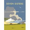 "Star Editions Leinwandbild ""The Seven Sisters, South Downs"" von Dave Thompson, Retro-Werbung"