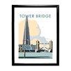 "Star Editions Gerahmtes Poster ""Tower Bridge and The Shard, London"" von Dave Thompson, Retro-Werbung"