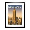 Star Editions Gerahmtes Poster New York Skyline von Dave Thompson, Retro-Werbung