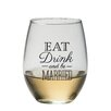 """Kate Aspen """"Eat, Drink and Be Married"""" Stemless Wine Glass (Set of 12)"""