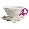 Seletti I-Wares Porcelain Teacup & Saucer (Set of 4)