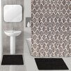 Popular Bath Diamond Medallion 15 Piece Chenille Shower Curtain Set