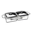 Premier Housewares Doppel-Speisewärmer mit Marinex Glasschalen