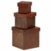 Premier Housewares Pandanus 3 Piece Storage Boxes Set with Lid
