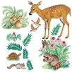 Wallies Murals & Cutouts 2 Piece Woodland Animals Wall Sticker Set