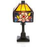 """River of Goods Rose Butterfly Tiffany Style  Stained Glass 11.75"""" H Table Lamp"""