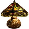 """River of Goods Dragonfly Tiffany Style Stained Glass 10"""" H Table Lamp"""