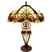 "River of Goods Halston Double Lit Tiffany Style Stained Glass 24.5"" H Table Lamp"