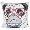 Loom and Mill Pug with Glasses Throw Pillow