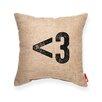 "Posh365 Symbol ""< 3"" Heart Decorative Burlap Throw Pillow"
