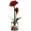 """Silk Flower Depot 24"""" Amaryllis with Bulb in Glass Vase"""