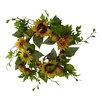 "Silk Flower Depot 24"" Sunflower and Chinese Lantern Wreath"