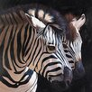 Portfolio Canvas Decor 'Two Zebras' by P. Charles Framed Graphic Art on Wrapped Canvas