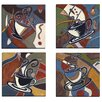 Portfolio Canvas Decor Abstract Coffee I by Tara Gamel 4 Piec Painting Print on Wrapped Canvas Set