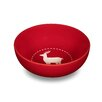Friesland Happymix Red Christmas Breakfast Bowl with Reindeer Decor