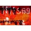 TAF DECOR Hustle and Bustle 1 Orange/Black Area Rug