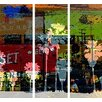 TAF DECOR Sunset and Palms 3 3-Piece Graphic Art on Wrapped Canvas Set