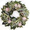 """Dried Flowers and Wreaths LLC 22"""" Miniature Rose and Globe Thistle Wreath"""
