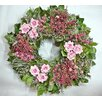 """Dried Flowers and Wreaths LLC 22"""" Pink Rose and Berry Wreath"""