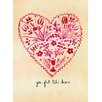 Mai Autumn Folk Art Valentine by Christine Lindstrom Painting Print