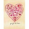 Mai Autumn Folk Art Valentine by Christine Lindstrom Painting Print
