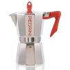 Grosche International Pedrini Stovetop Espresso Pot Silver with Red Handle