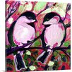 Great Big Canvas 'Valentine Chickadees in Love' by Jennifer Lommers Painting Print on Canvas