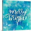 Great Big Canvas Christmas Art Merry and Bright Twinkle Light Handlettering by Inner Circle Textual Art on Wrapped Canvas