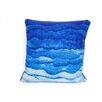ModShop Watercolor Waves Linen Throw Pillow