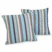Home Loft Concepts Carnegie Celeste Striped Sunbrella Throw Pillow (Set of 2)