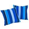 Home Loft Concepts Milano Colbalt Striped Sunbrella Throw Pillow (Set of 2)