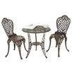 Home Loft Concepts Domingo 3 Piece Bronze Cast Aluminum Outdoor Bistro Set