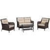 Home Loft Concepts Savona 4 Piece Seating Group with Beige Cushions
