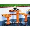 dCor design 3-teilig Tisch und Bänke-Set und Balkonklappgarnitur mit blauen Auflagen
