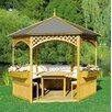 dCor design 326 cm rund Pavillon Palma mit Dach aus Dachpappe und Möbeln