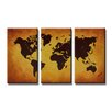 Urban Designs Worldmap 3 Piece Graphic Art on Canvas Set