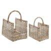 Castleton Home 2 Piece Rattan Log Basket Set