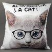Castleton Home Zierkissen Katze mit Brille