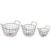 Castleton Home 3 Piece Round Wire Basket Set