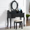 Castleton Home Drawers Dressing Table Set with Mirror