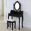 Castleton Home Wooden Dressing Table Set with Mirror
